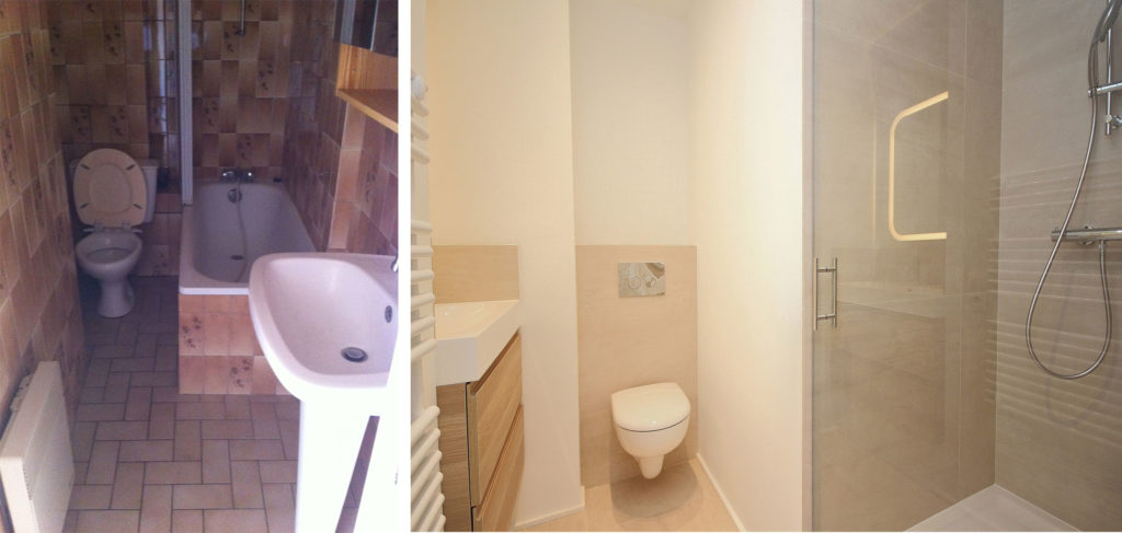 Coin salle de douche avant-après dans un studio