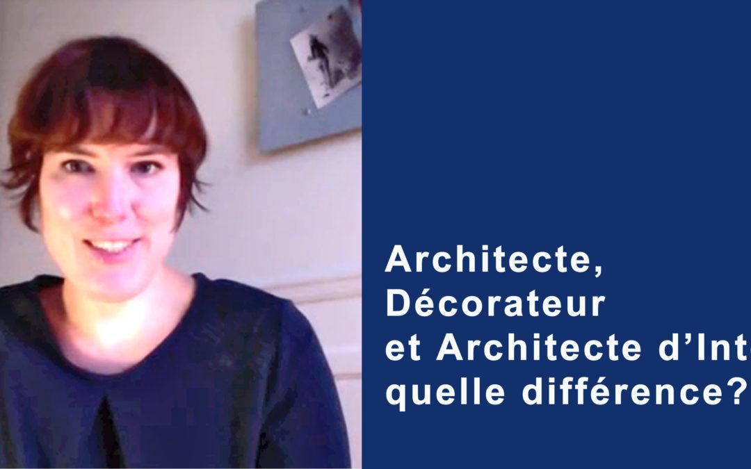 Architecte, décorateur et architecte d'intérieur, quelle différence?