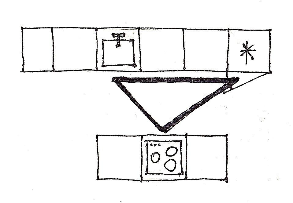 Plan de cuisine avec îlot et triangle de travail