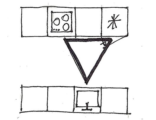 Plan de cuisine avec meubles en parallèle et triangle de travail